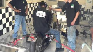 Students breaking in a rad old school 1972 Honda CB450 on the Dyno