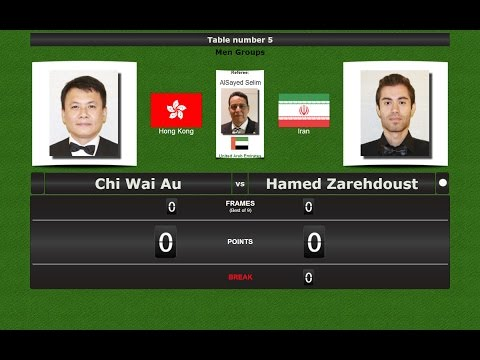 Snooker 6 reds Groups : Chi Wai Au vs Hamed Zarehdoust