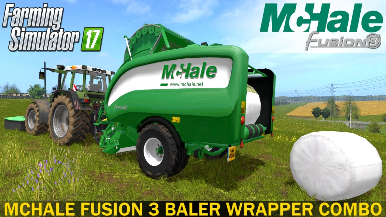farming simulator 2017 mchale fusion 3 baler wrapper combo youtube rh youtube com McHale Bale Wrapper Parts Round Baler with Wrapper