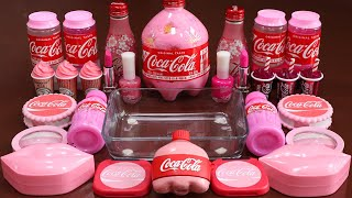 """Mixing""""Pink CocaCola"""" Eyeshadow and Makeup,parts,glitter Into Slime!Satisfying Slime Video!★ASMR★"""