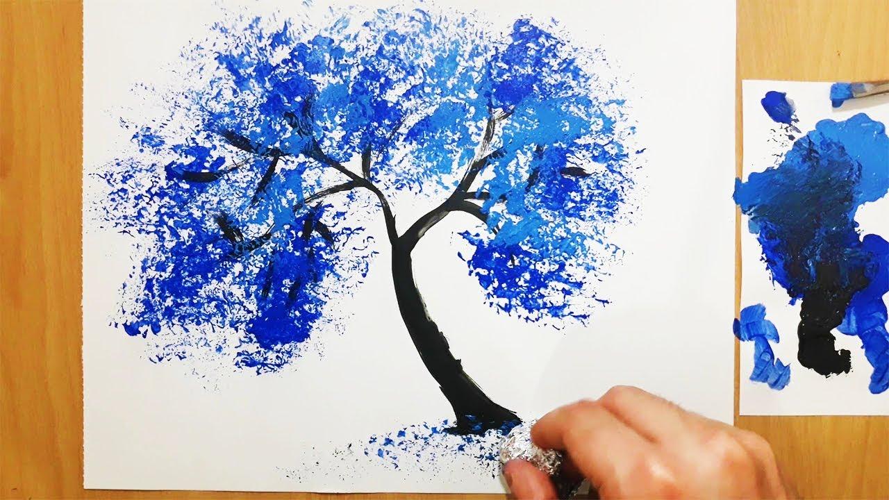 Akrilik Boya Ile Cok Kolay Agac Yapma Teknigi Acrylic Painting