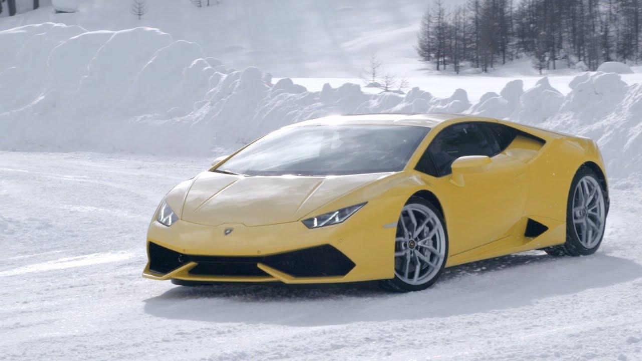 Lamborghini in snow