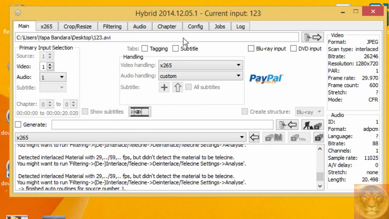 Encode / Convert Videos to H 265 (HEVC) using Hybrid