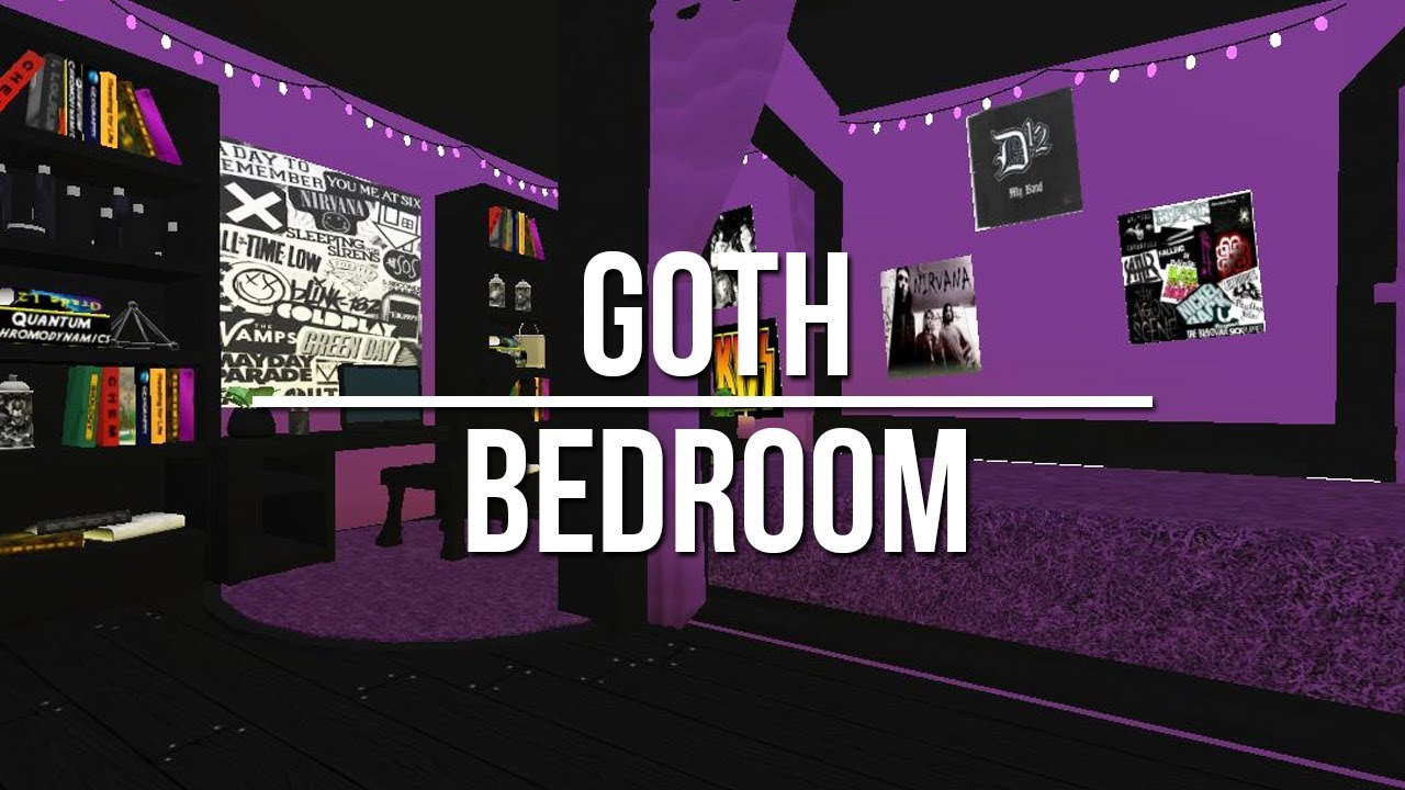 Roblox welcome to bloxburg goth bedroom youtube for Dining room ideas bloxburg