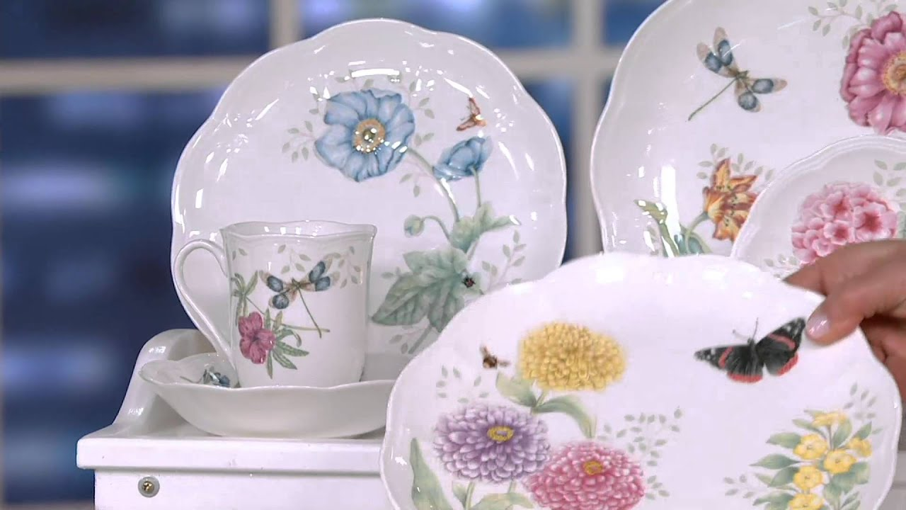 Lenox Butterfly Meadow 28-piece Porcelain Dinnerware Set on QVC - YouTube & Lenox Butterfly Meadow 28-piece Porcelain Dinnerware Set on QVC ...