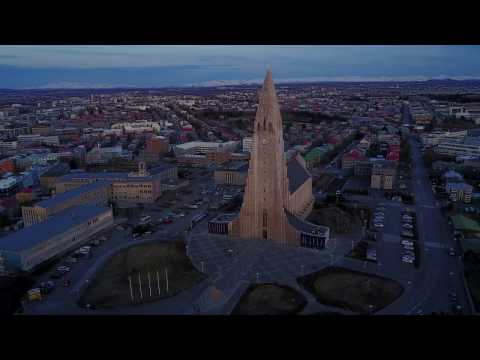 4K Aerial Ultra HD Video of Reykjavik Iceland