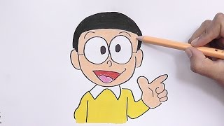 Dibujando y pintando a Nobita (Doraemon) - Drawing and painting Nobita