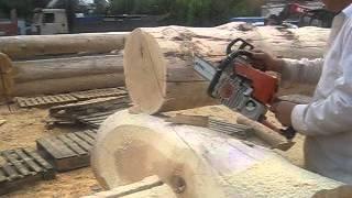 Подсадка бревна для черчения. Канадская рубка.(Срубы из Псковской области: Канадка ( Канадская чаша). http://domlafet.ru Russia log cabin, Russia log house Canadian hand-crafted log cabin., 2013-07-18T14:54:20.000Z)
