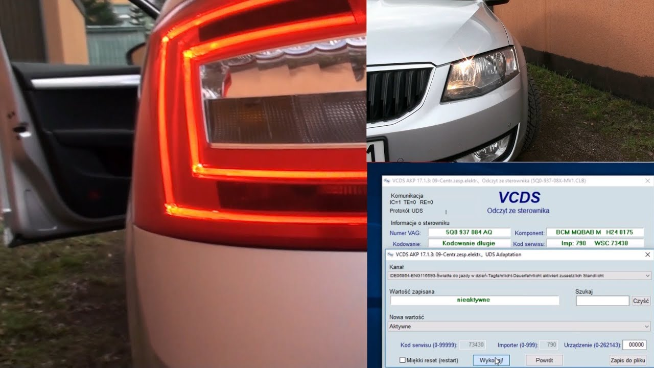 Activation Or Rear Lights Together With Drls Skoda Octavia Iii 5e