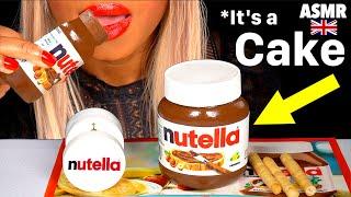ASMR EATING REALISTIC CAKE NUTELLA JAR, EDIBLE LID, JAR, PRANK FOOD, CAKE CUTTING MUKBANG 먹방