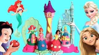 Play Doh Palácio Real Mágico Princesas Disney Glitter Glider Magiclip Mini Bonecas FROZEN Anna Elsa