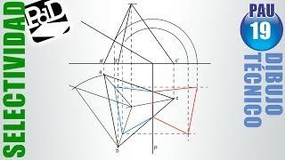 PAU #019 Diédrico: Trazado y sección de un tetraedro (Selectividad - Castilla y León/2008)