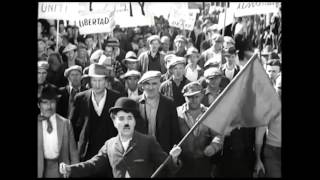 Charlie Chaplin. Modern Times. Protest Scene