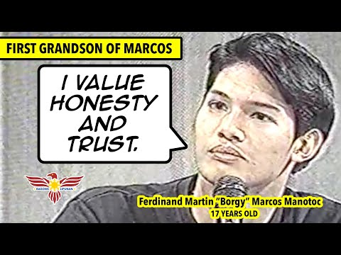 An interview of the 17-year old Marcos' grandson, Borgy Manotoc
