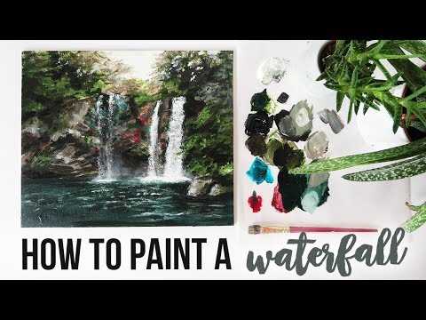 HOW TO PAINT IN ACRYLIC | Waterfall Tutorial ONE BRUSH ONLY