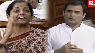 Video Nirmala Sitharaman - Rahul Gandhi Faceoff In Lok Sabha Over Rafale Deal download MP3, 3GP, MP4, WEBM, AVI, FLV Juli 2018