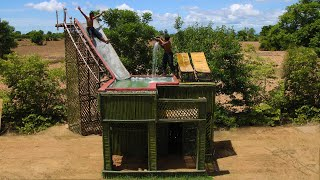 Build The Best Creative Swimming Pool Top of Bamboo House & Water Slide By Primitive Technology