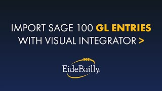 Using Visual Integrator to Import Sage 100 GL Entries
