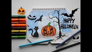 Рисуем фломастерами тыкву и кота на Хэллоуин / How To Draw A Black Cat And Pumpkin For Halloween (2)