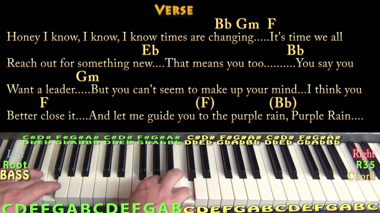 Purple Rain (Prince) Piano Cover Lesson in Bb with Chords ...