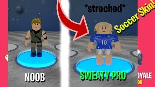 FORTNITE NOOB VS SWEATY SOCCER SKIN IN ROBLOX!