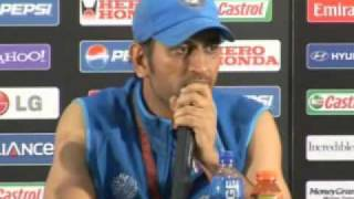 Ms Dhoni talks at the press conference after wining the world cup 2011