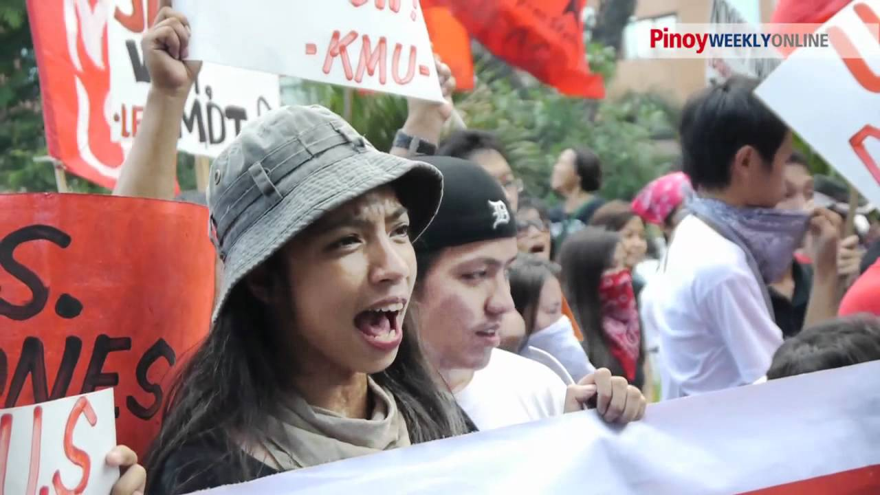 Ph Progressive Groups Rally In Us Embassy In Manila To Protest Us Ph War Games Youtube
