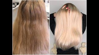 36. Тонирование ранее осветлённых волос. Как придать волосам натуральный оттенок-блонд.