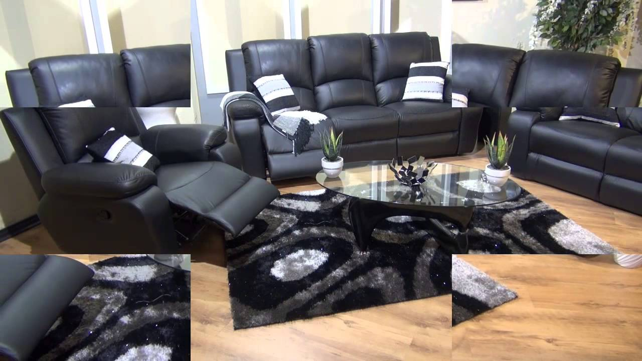 3piece Lyla 3 Action Recliner Lounge Suite (Leather Uppers) - YouTube