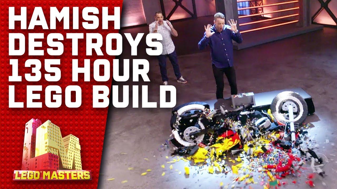 Download Hamish smashes a LEGO motorbike that took 135 hours to make   LEGO Masters Australia 2020