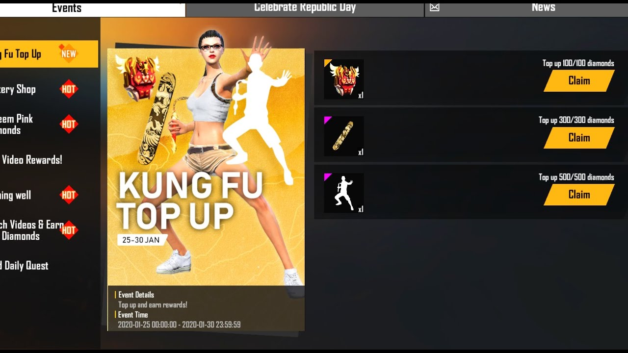 Free Fire New Top Up Event Daily Weekly Membership Giveaway Mg More Youtube