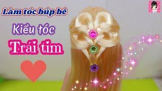 Làm kiểu tóc trái tim đơn giản cho búp bê / Barbie Hair - Barbie Hairstyle Tutorial / Ami DIY