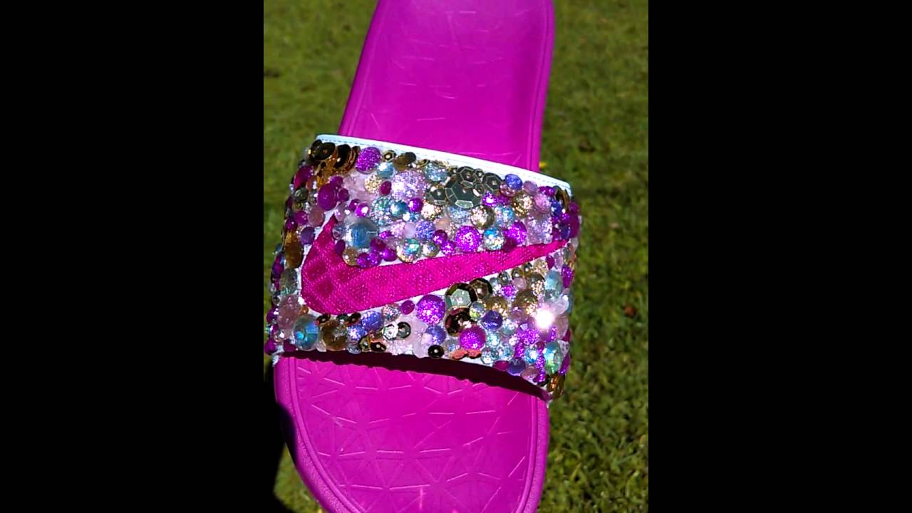 f1da18f3f Nike flip flops custom bling !!!! - YouTube