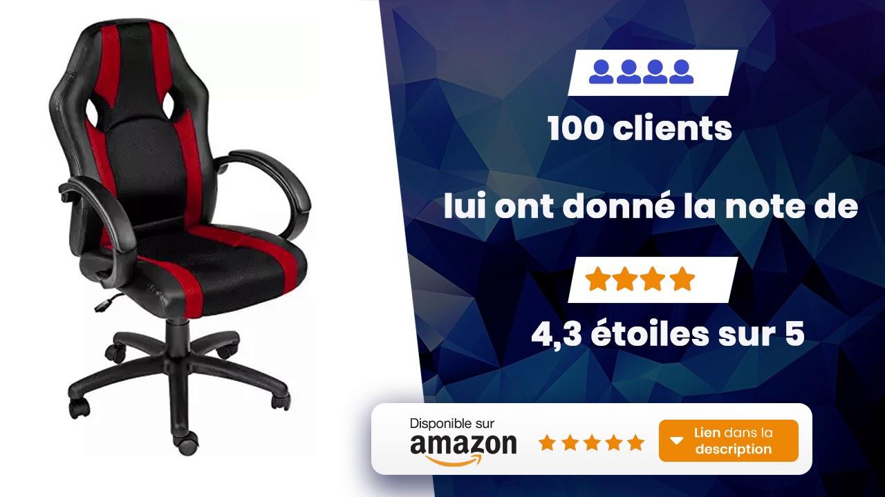 nouveau produit ea063 3b52d TecTake Chaise de Bureau Fauteuil siège Racing Sport Tissu diverses  Couleurs au Choix Rouge