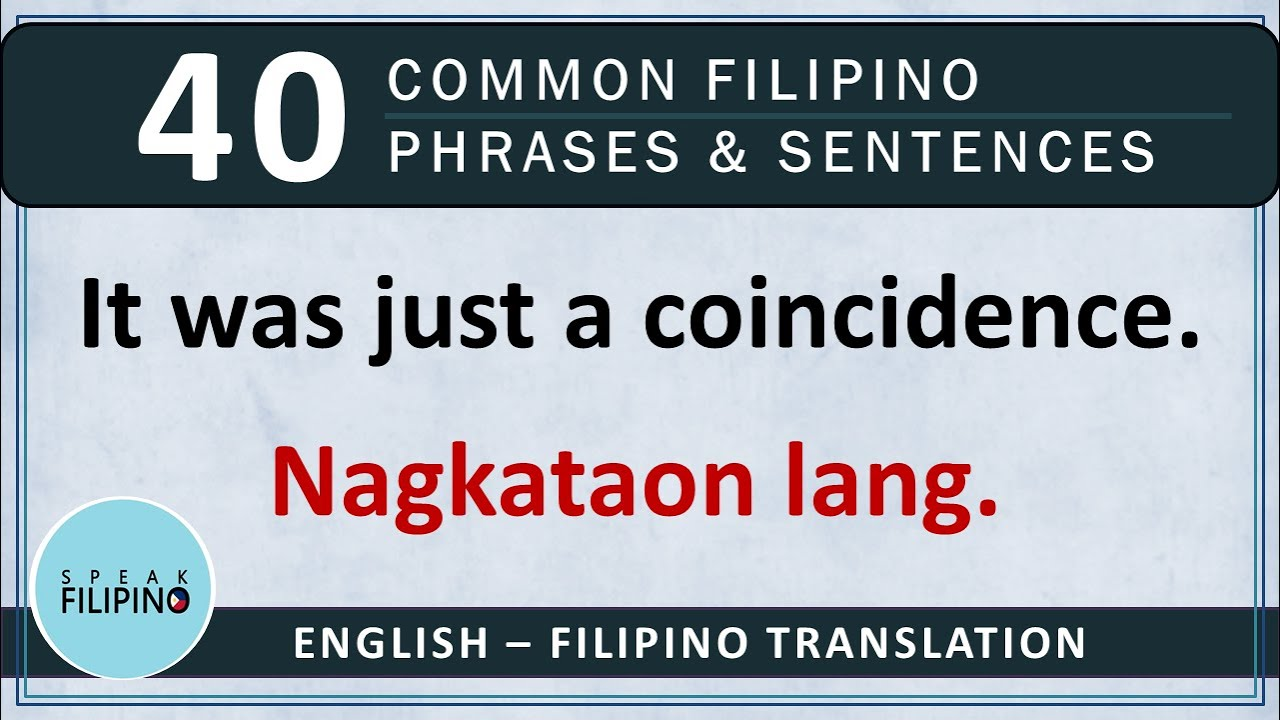 COMMONLY USED FILIPINO Phrases and Sentences! #8 (English-Tagalog)