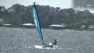 Flying a hull on a Hobie Wave catamaran