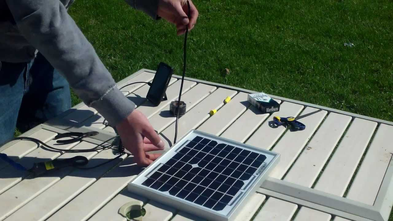 12 Volt Solar Panel Charges Cell Phone Youtube