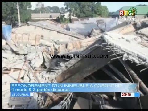 www.guineesud.com - Kaloum, effondrement d'un immeuble de 7 étages. Bilan 4 morts. Le 29.07.2018