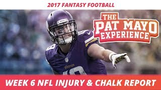 2017 fantasy football - week 6 nfl injury report & draftkings milly maker chalk picks and pivots