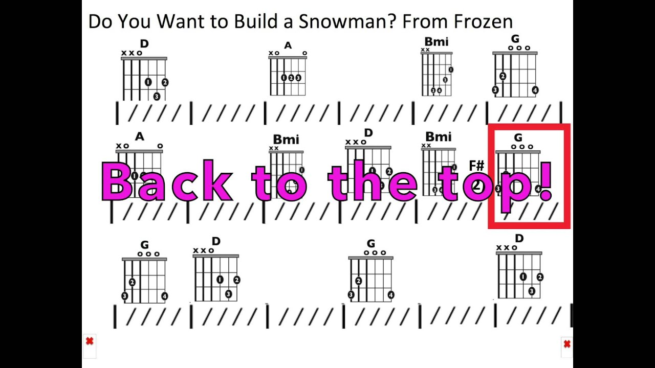 Do You Want To Build A Snowman From Frozen Moving Chord Chart