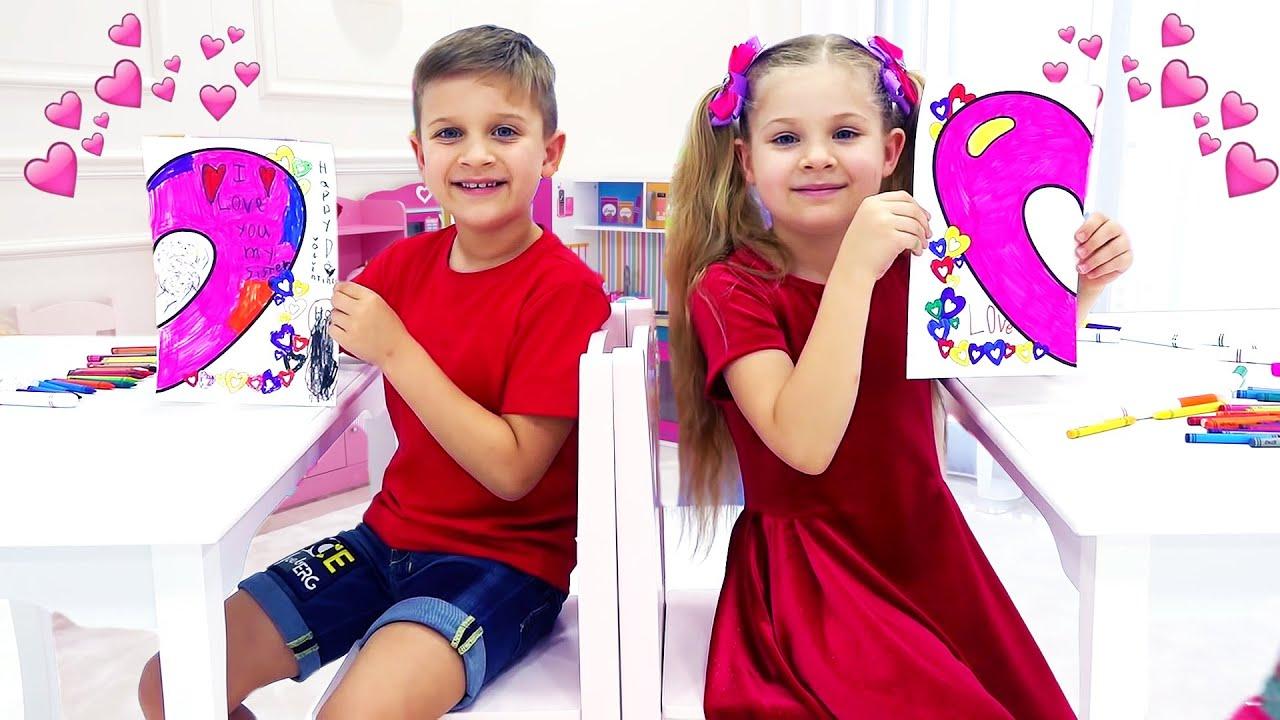 ديانا وروما يصنعان بطاقات عيد الحب الخاصة بهم