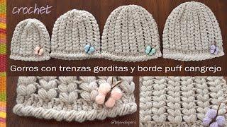 Gorros con trenzas gorditas y borde cangrejo puff a crochet - Tejiendo Perú!