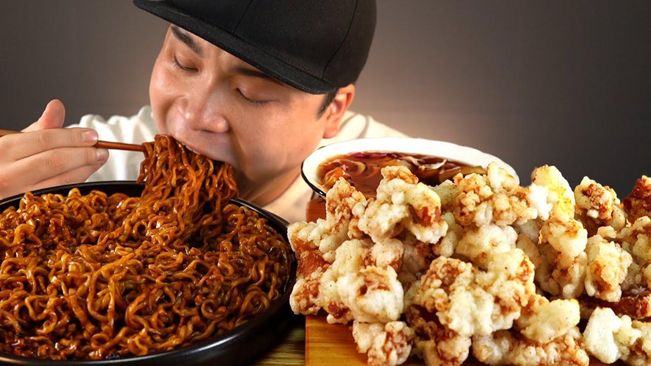 짜파게티+까르보나라불닭볶음면과 탕수육 먹방~!! 리얼사운드 ASMR social eating Mukbang(Eating Show)