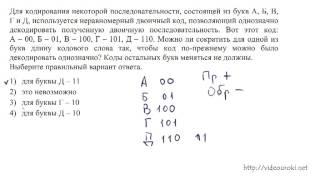 A9. Кодирование и декодирование данных(Разбор задания A9 демоверсии ЕГЭ по информатике 2013 года. Нужно ответить можно ли сократить код для одной..., 2012-11-08T12:58:46.000Z)