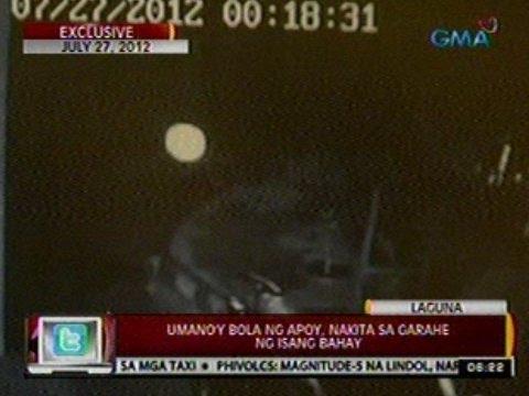 24ORAS:  Bola ng apoy, nakita sa garahe ng isang bahay sa Laguna
