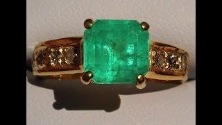 14K COLOMBIA EMERALD DIAMOND RING NO RESERVE !