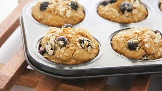 Healthy Blueberry Oatmeal Muffins 低糖低脂蓝莓燕麦麦芬 ll Apron