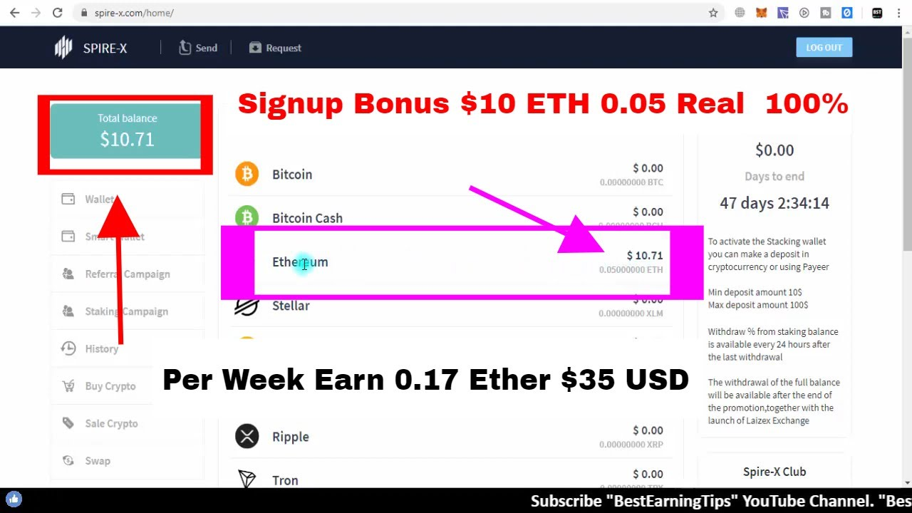 Signup Bonus $10 ETH 0.05 Real | Per Week Earn 0.17 Ether $35 USD | Join Airdrop and Bounty 7