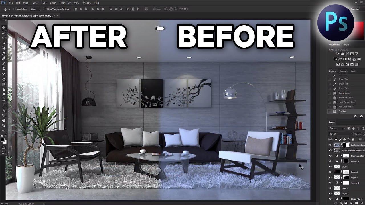 Photoshop Post Production Tutorial _ Interior Scene #1