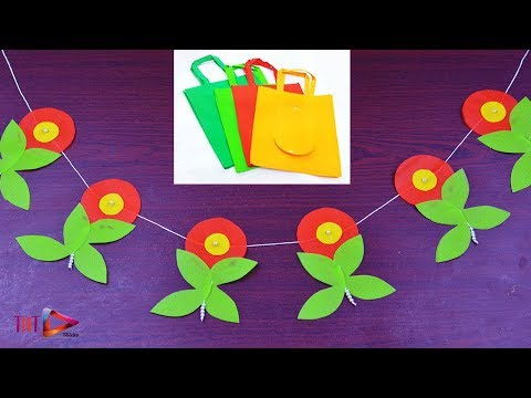 DIY Door Hanging Toran With Shopping Bag | Carry Bag Wall Hanging | Best out of Waste Craft Ideas